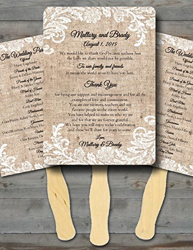 Personalized Wedding fans/ Wedding fans for guests/Wedding program fans/Wedding favors/Rustic Wedding/Burlap and Lace -