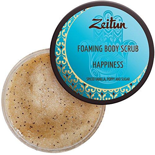 Zeitun Sugar Scrub - Happiness - Cleansing and Exfoliating Body Scrub - Natural & Organic Exfoliant - Foaming Skin Exfoliator - Hand & Body Cellulite Treatment with Vanilla Cinnamon Poppy -