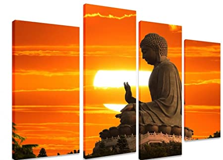 Excellent Large Huge Multi Split Panel Canvas Artwork Art Giant Buddha In Sunset Tian Tan Hong Kong From Po Lin Monastery Art Depot Outlet 4 Panel Home Interior And Landscaping Eliaenasavecom