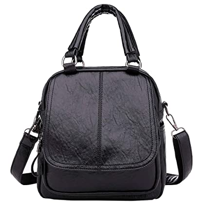 a7d973fc59fe Amazon.com: DingXiong 2018 Solid PU Leather Backpack Women Designer ...