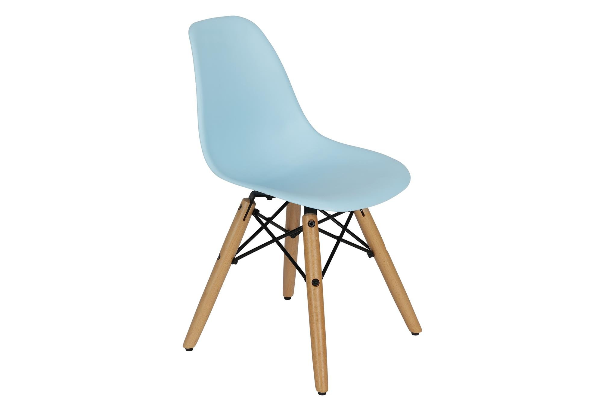 DHP Kids Molded Chair with Rounded Seat and Wood Legs, Mid Century Design, Blue