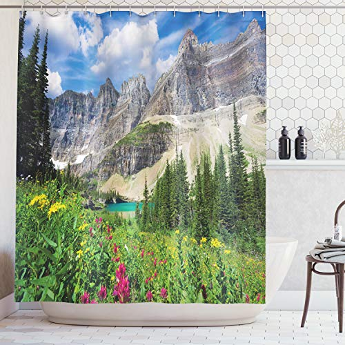 (Lunarable Nature Shower Curtain, North Montana Mountains with A Creek Meadow Spring Rural Lake Pine Trees Scenery, Fabric Bathroom Decor Set with Hooks, 70 inches, Blue Grey)