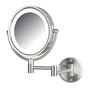 LED Lighted Direct Wire Direct Wire Makeup Mirror with 8x Magnification