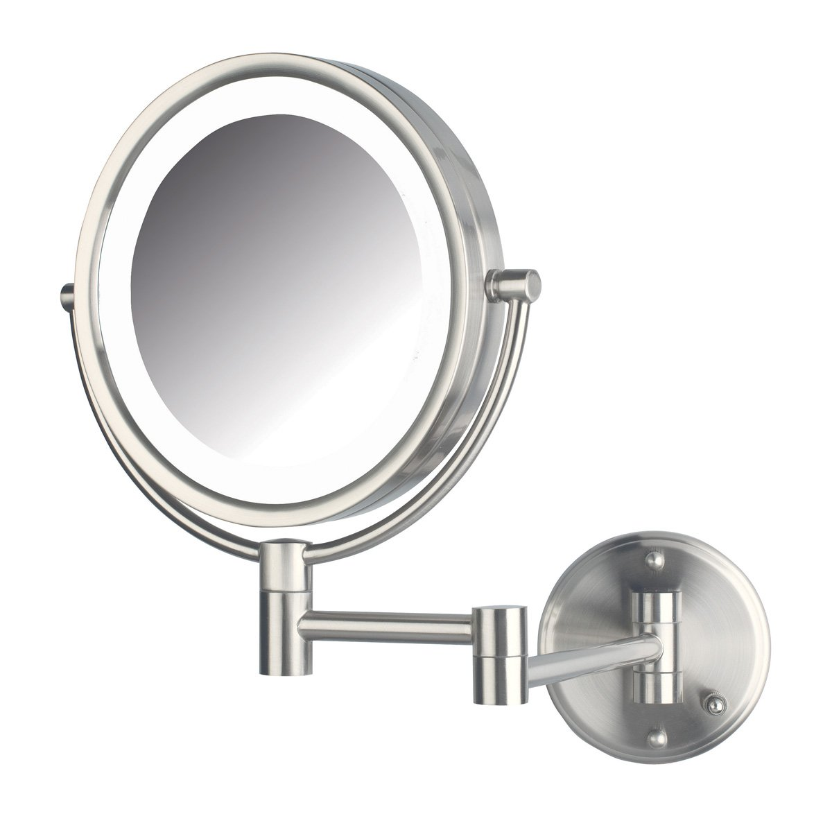 Jerdon HL88NLD 8.5-Inch LED Lighted Direct Wire Direct Wire Makeup Mirror with 8x Magnification, Nickel Finish by Jerdon (Image #1)