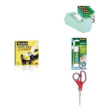 Scotch - Dispensador cinta SM4-W-EU + Cinta doble cara 665/1933 + Barra adhesiva 6240C + Tijeras Comfort 1428: Amazon.es: Oficina y papelería