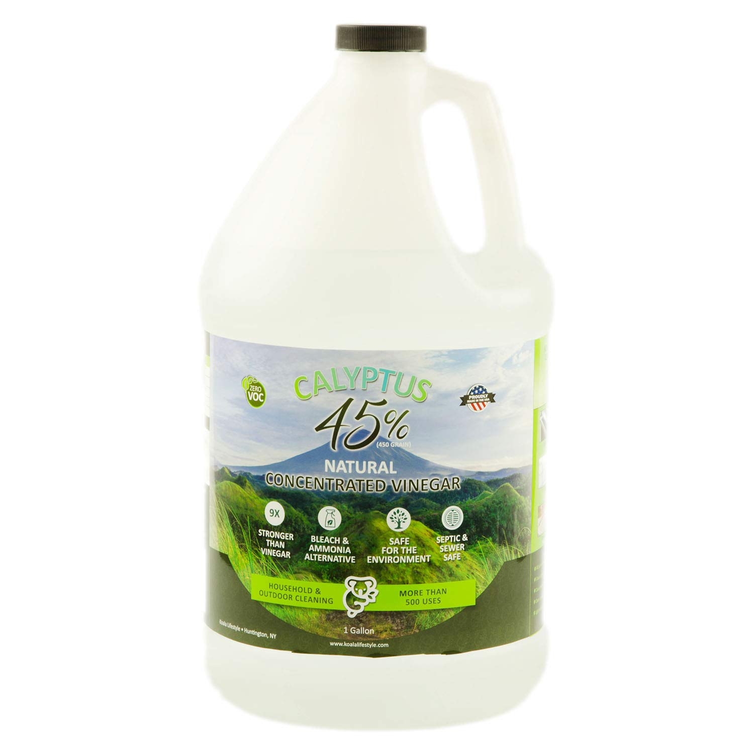 Calyptus 45% Pure Vinegar | 9x Stronger than Vinegar | 100% Natural Concentrated Cleaner | Home, Outdoor, and Garden Use | 450 Grain | Industrial Strength | Bleach and Ammonia Alternative | 1 Gallon by Calyptus
