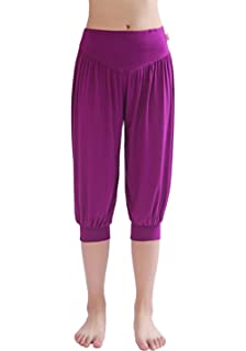 1e42e2cc151 Hoerev Brand Women s Super Soft Modal Spandex Harem Yoga Pilates Capri Pants