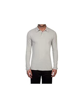 25e44e0ce84 HAWES & CURTIS Mens Grey Garment Dye Slim Fit Long Sleeve Polo Shirt - 100%