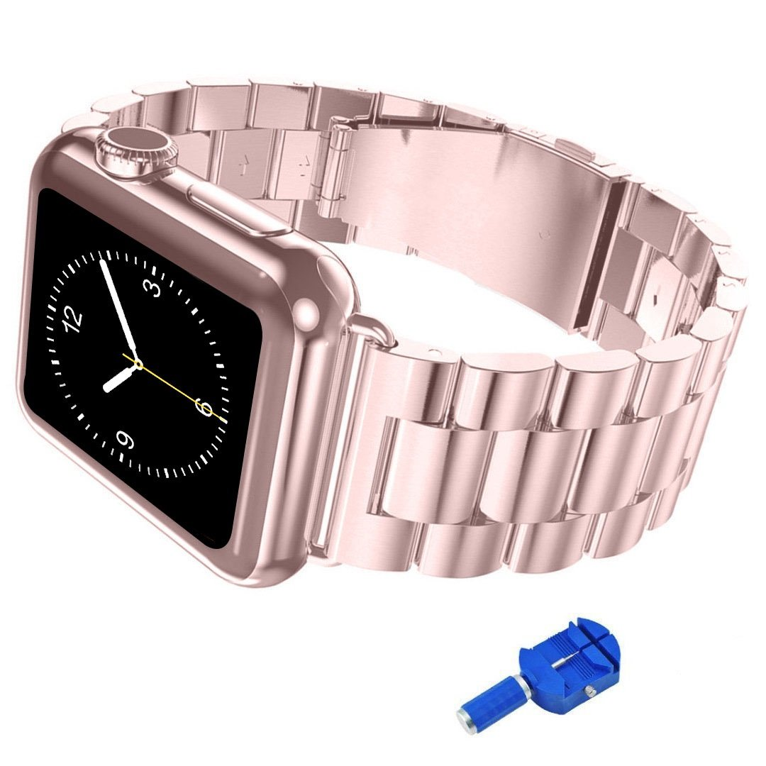 iitee Apple Watch Band, 38mm iWatch Band Stainless Steel Replacement Strap for Apple Watch Series 3 Series 2 Series 1 - Rose Gold by iitee
