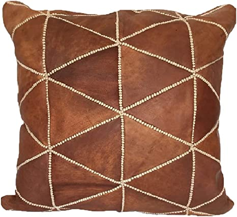 Moroccan Leather Pillow 16 X16 Inch 40cm 100 Natural Leather Cushion Decorative Pillow Hand Woven Pillow Cover Moroccan Pillow Turkish Pillow Sofa Pillow Moroccan Bedding Cusion Home Kitchen