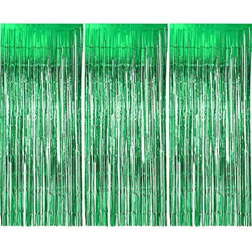 Sumind 3 Pack Metallic Tinsel Curtains, Foil Fringe Shimmer Curtain Door Window Decoration for Birthday Wedding Party (Green)]()