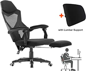 HOMEFUN Ergonomic Office Chair, High Back Adjustable with Footrest Desk Task Chair with Armrests Black and Lumbar Support