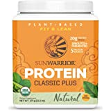 Sunwarrior Classic Plus Organic Vegan Protein Powder with BCAAs and Pea Protein (Natural, 15 Servings)