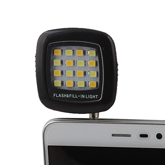 Amazon.com: eDealMax RK-05 Negro Jack DE 3,5 mm portátil 16 LED Selfie Flash Luz de relleno Para el teléfono móvil: Electronics