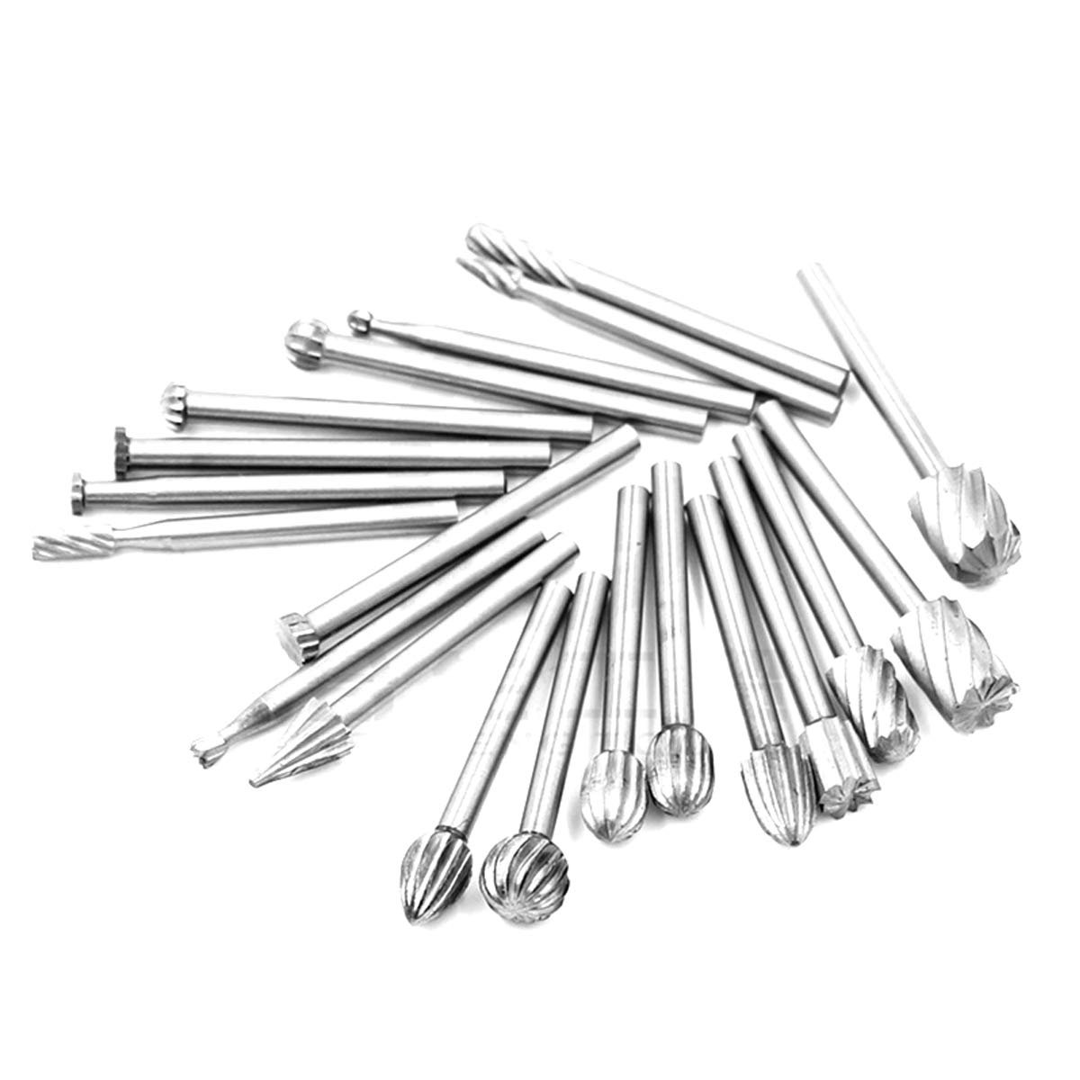Carbide Burr Set Shank Diameter Double Cut Tungsten Carbide Burs Rotary File Carving Grinding Bit for Die Grinder Rotary Drill Tool 20pcs 1//8