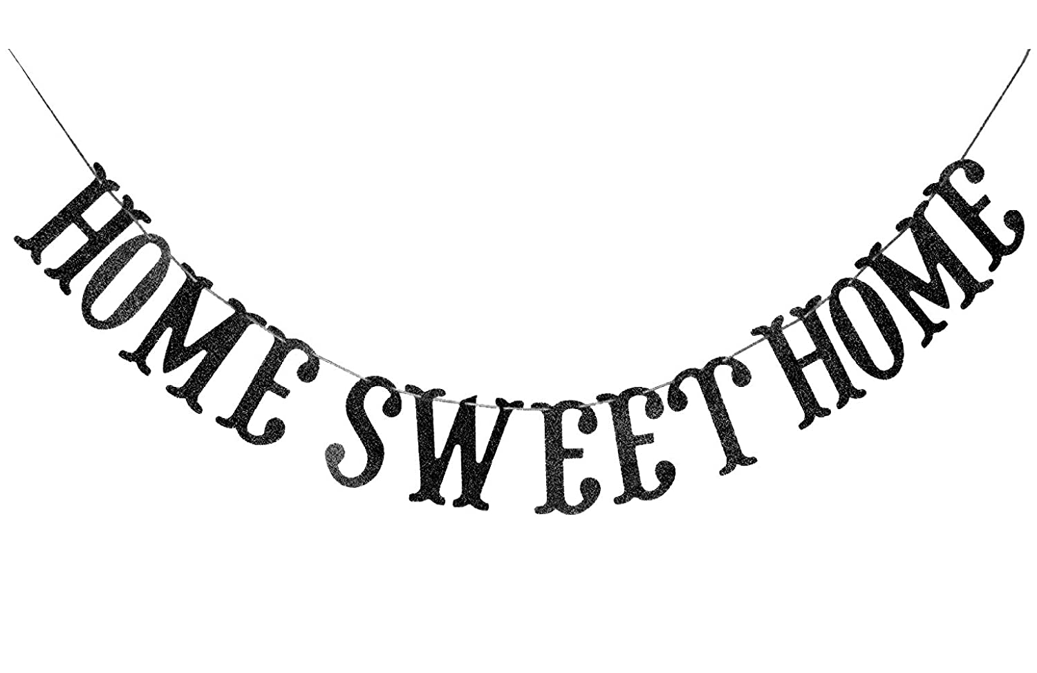 Home Sweet Home Banner for Housewarming Patriotic Military Decoration Family Party Supplies Cursive Bunting Photo Booth Props Sign (Black Glitter)