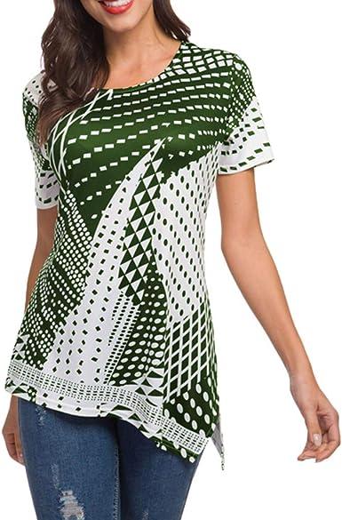 TOPKEAL Camiseta de Mujer con Cuello Redondo Blusa con Estampado Lunares Irregular para Mujer: Amazon.es: Ropa y accesorios