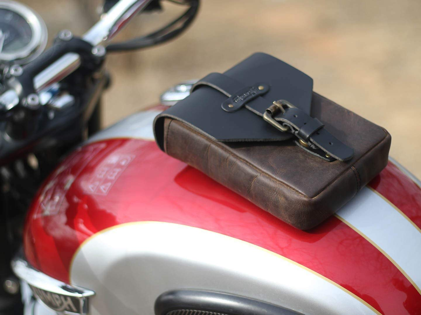 Trip Machine Company Leather Motorcycle Tank Pouch Tobacco Brown