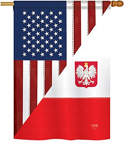 Breeze Decor Us Polish Friendship Flags Of The World Everyday Impressions Decorative Vertical House Flag 28 X 40 Printed In Usa Garden Outdoor