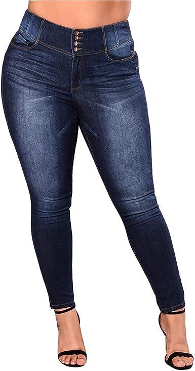 Wetry Jeans Mujer Botones Pantalones Talle Alto Vaqueros Mujer Cintura Alta Jeggings Tallas Grandes Pantalones De Mezclilla Leggings Skinny Amazon Es Ropa Y Accesorios