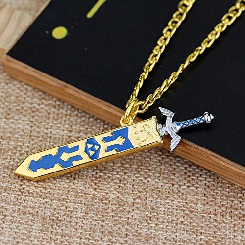 Game The legend of Zelda necklace Removable Master Sword Necklace Pendant Golden Sky Sword With Sheath Necklace Fans Souvenirs (Necklace Pendants Removable)