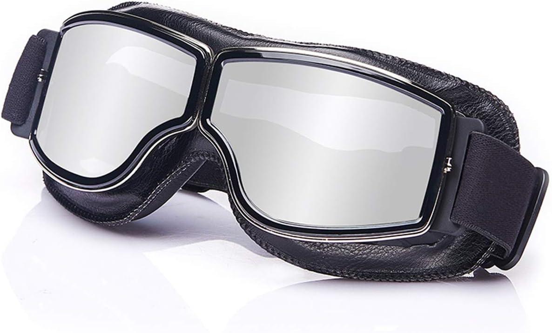 Galatée Motorradbrille Ski Motorrad Roller Brille Retro Fliegerbrille Helmbrille Winddichte Sonnenbrille Schwarze Rahmen Silber Linse Auto