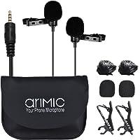 Andoer arimic dual-headed clip-on micrófono condensador omnidireccional micrófono