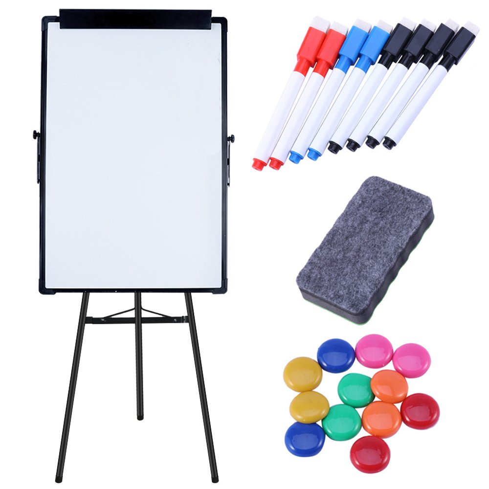 Magnetic Dry Erase Board&Accessories,Includes Magnetic Whiteboard Markerx8, Magnetsx12, Magnet Eraserx1 for Family,School,Office&cafe,Height Adjustable, 24.4x35.4 inches