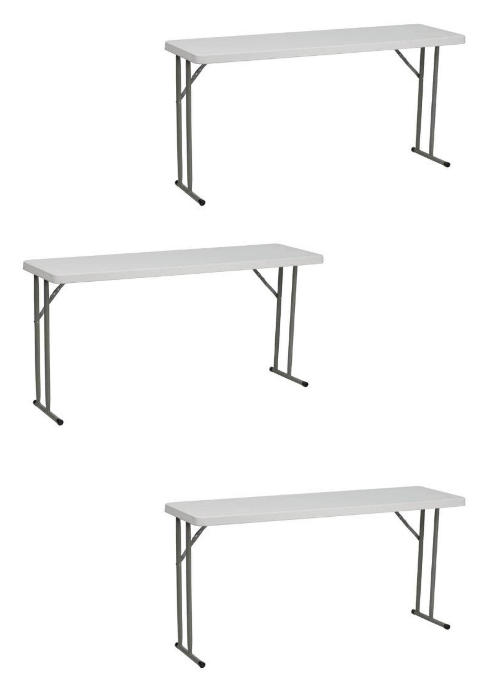 Flash Furniture 18''W x 60''L Granite White Plastic Folding Training Table [RB-1860-GG] (3 Pack,Granite White 18'' x 60'' Training)