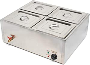 Electric Food Warmer, 4 Pot Stainless Steel Electric Food Warmer Buffet Server Heater, 600W Buffet Food Warmer Buffet Electric Countertop, 4-Pan Commercial Table Steamer for Catering and Restaurants