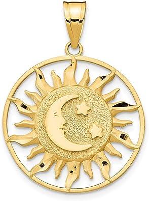 14k Yellow Gold Celestial Moon and Sun Charm Pendant