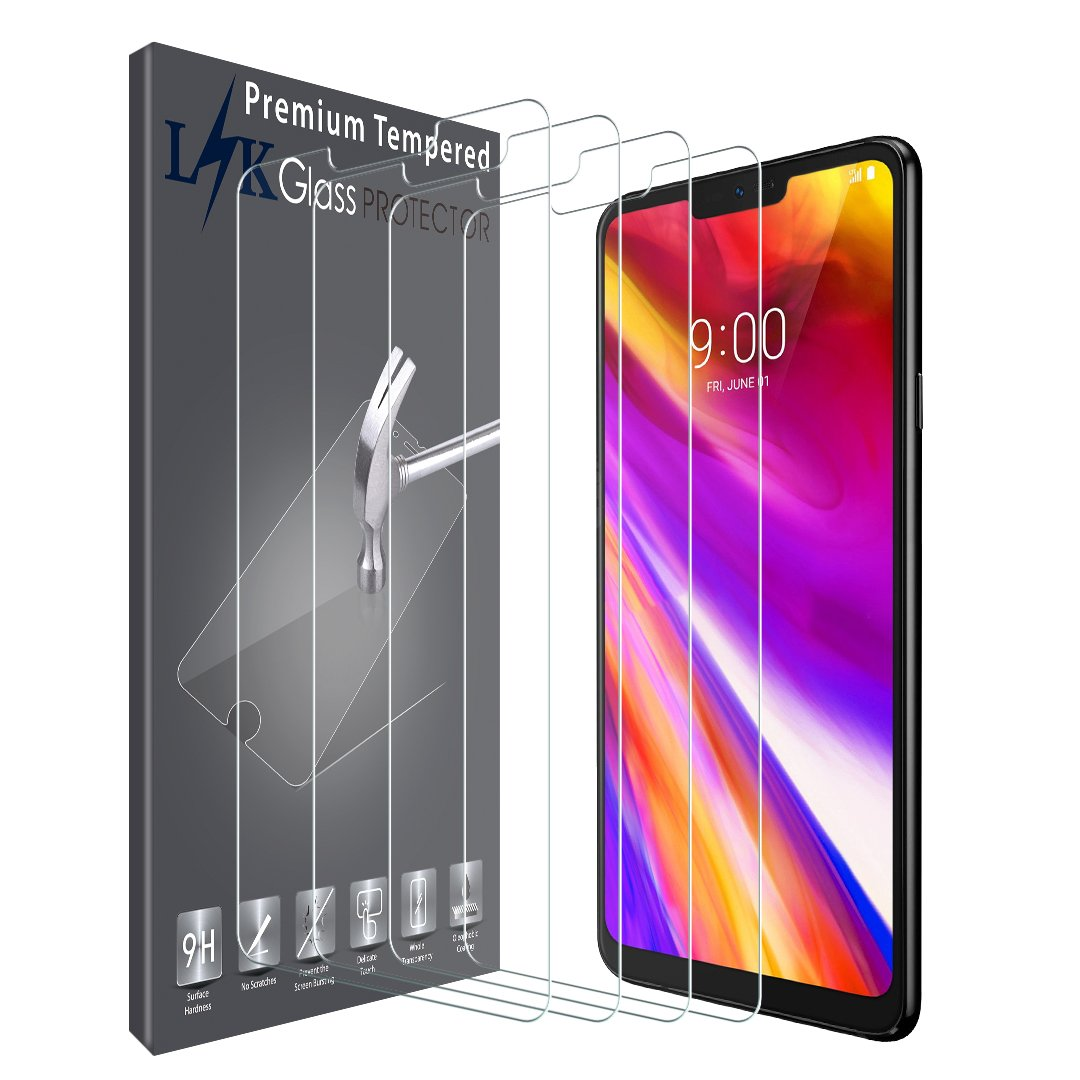 [4 Pack] LK Screen Protector for LG G7 ThinQ, [Tempered Glass] 9H Hardness with Lifetime Replacement Warranty