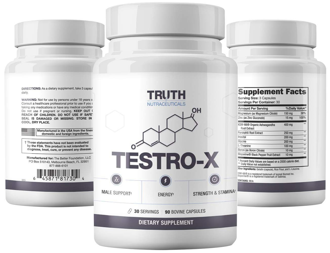 Truth Nutra - Testro-X - 30 Day Supply - All Natural Testosterone Booster - 100% Natural Formula - Promote Proper Hormonal Function - Support Healthy Testosterone Production
