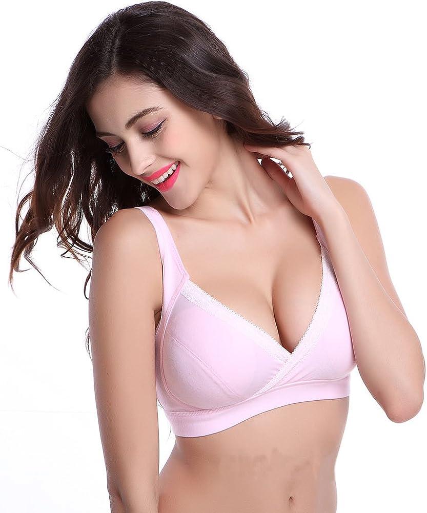 Shawhuaa Womens Cotton Soft Cup Wireless Nursing Maternity Bra XX-Large Pink