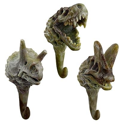3 pcs Simulación Fósiles de Dinosaurio Ganchos Edad Antigua Dinosaurio Esqueleto Resina Colgadores de Pared Perchas