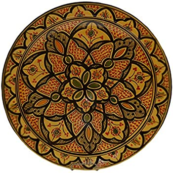 Ceramic Plates Hand Made Moroccan Deep Yellow Safi Plate Serving 16 Inches  sc 1 st  Amazon.com & Amazon.com | Ceramic Plates Hand Made Moroccan Deep Yellow Safi ...