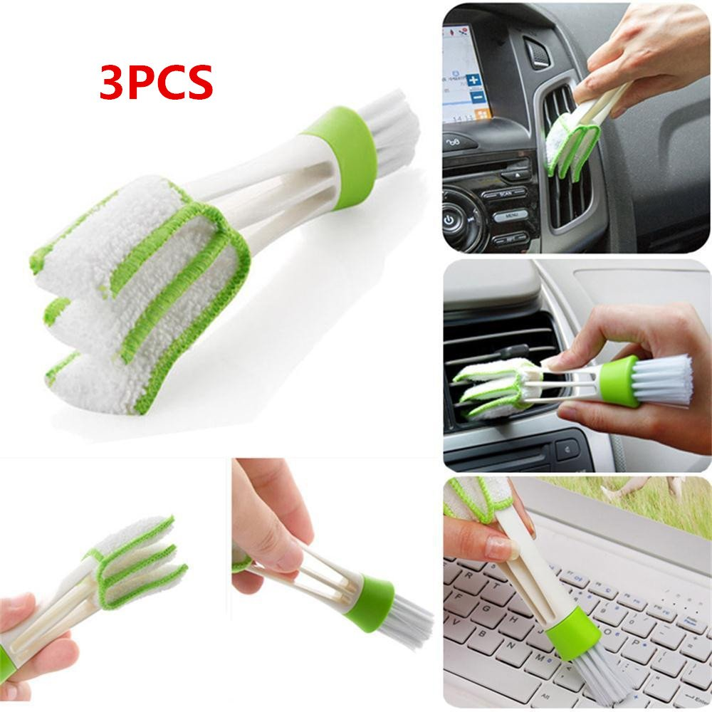 WINOMO 3 PC Mini Duster Double Ended MicroFiber Vent Duster Brush for Computer Keyboards Fans Air Conditioner Car Air Outlets Quick Cleaner with Removable Cloth Cover Portable Precision Dusting Tool