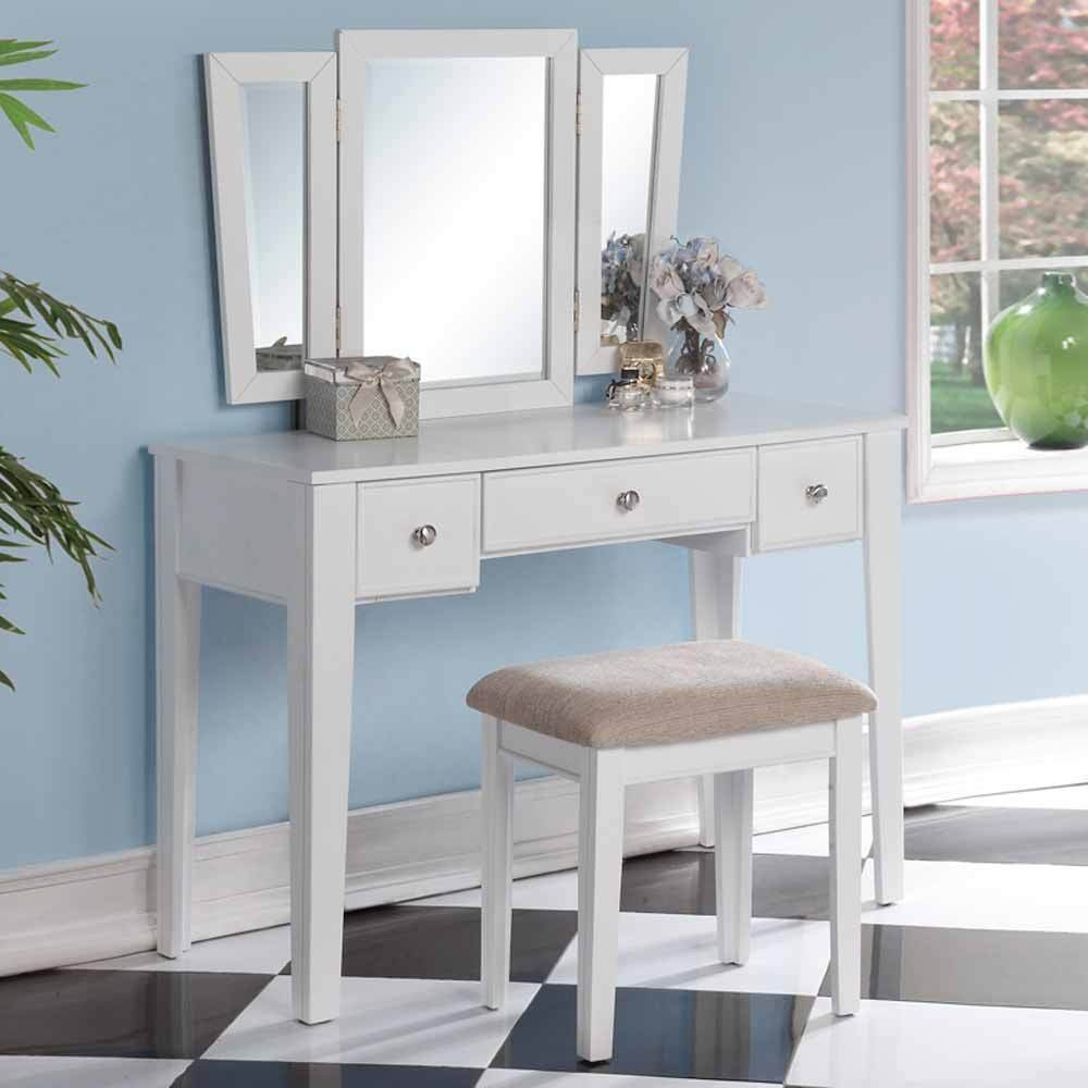 1PerfectChoice Tri Folding Mirror Vanity Makeup Dresser Table Stool Bench Set 3 Drawers White