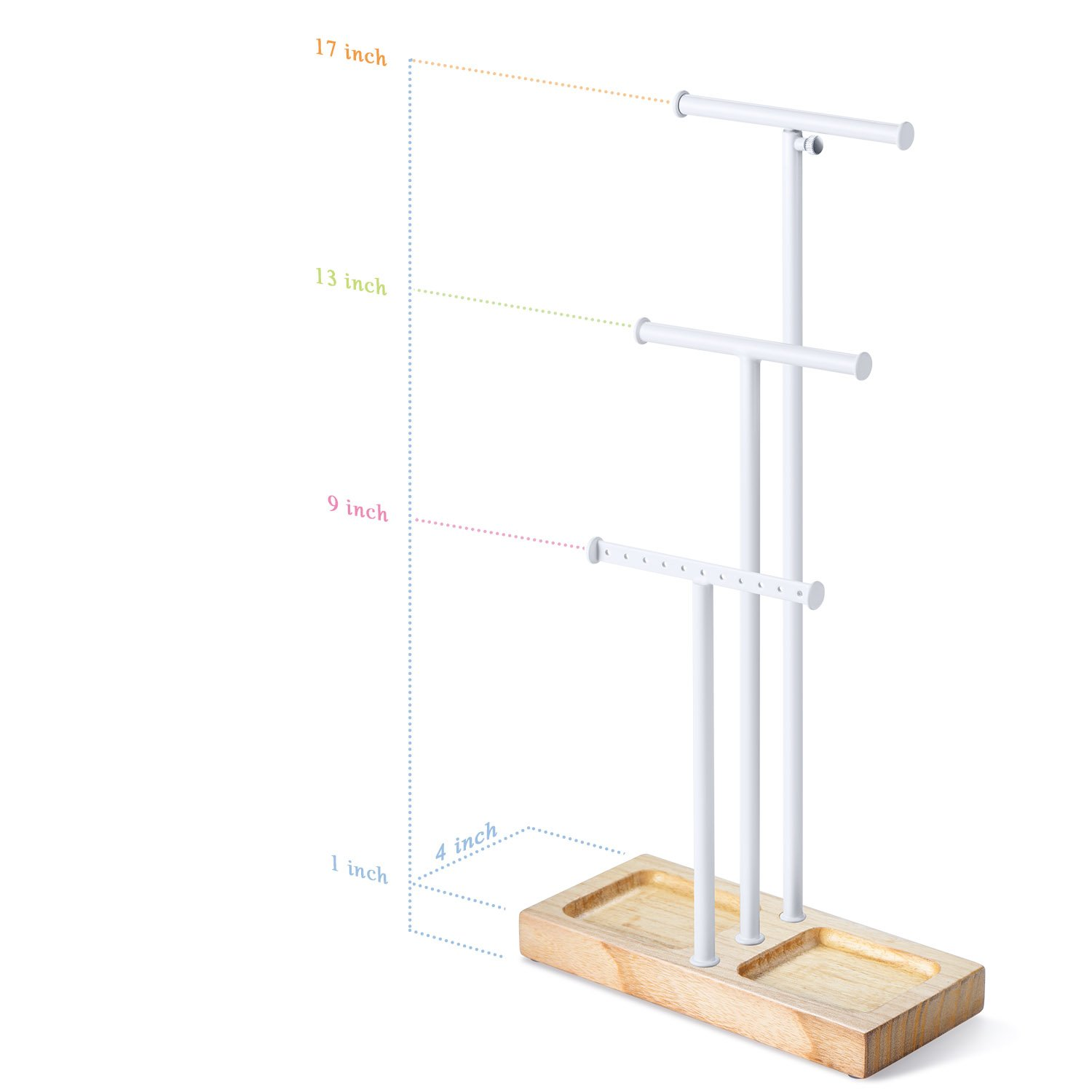 Love-KANKEI Jewelry Tree Stand White Metal & Wood Basic - Adjustable Height with Large Storage for Necklaces Bracelets Earrings Natural Wood by Love-KANKEI (Image #6)