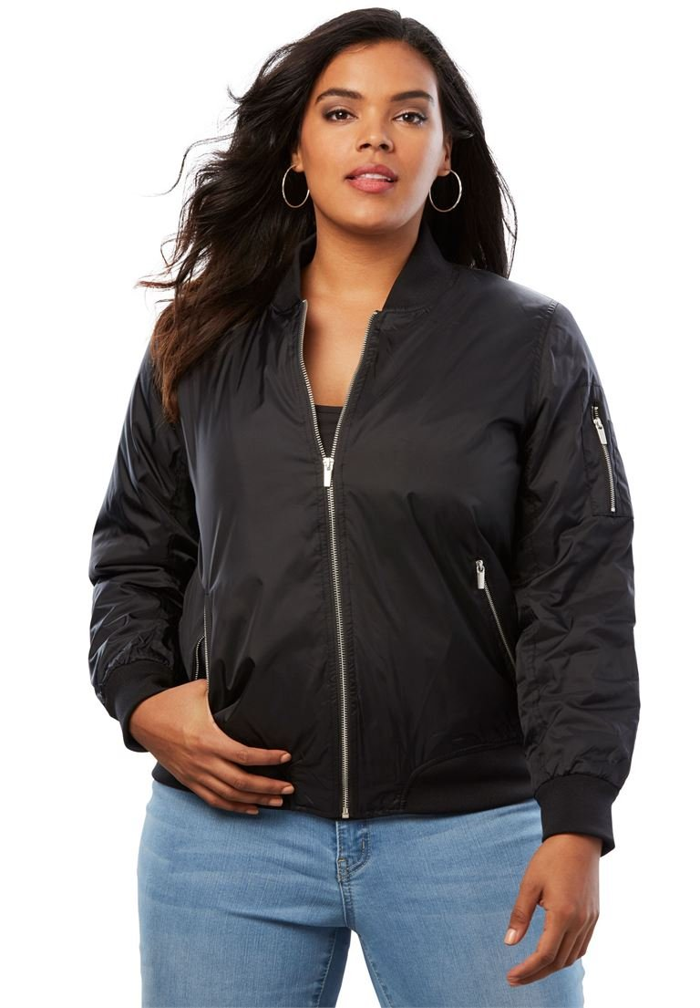 Roamans Women's Plus Size Zip-Front Bomber Jacket
