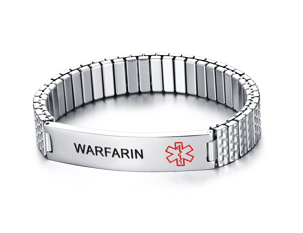 Unisex Stainless Steel Medical Alert ID Tag Stretch Wristband Identification Bracelet for Men Women Mealguet MG--BR--405--3