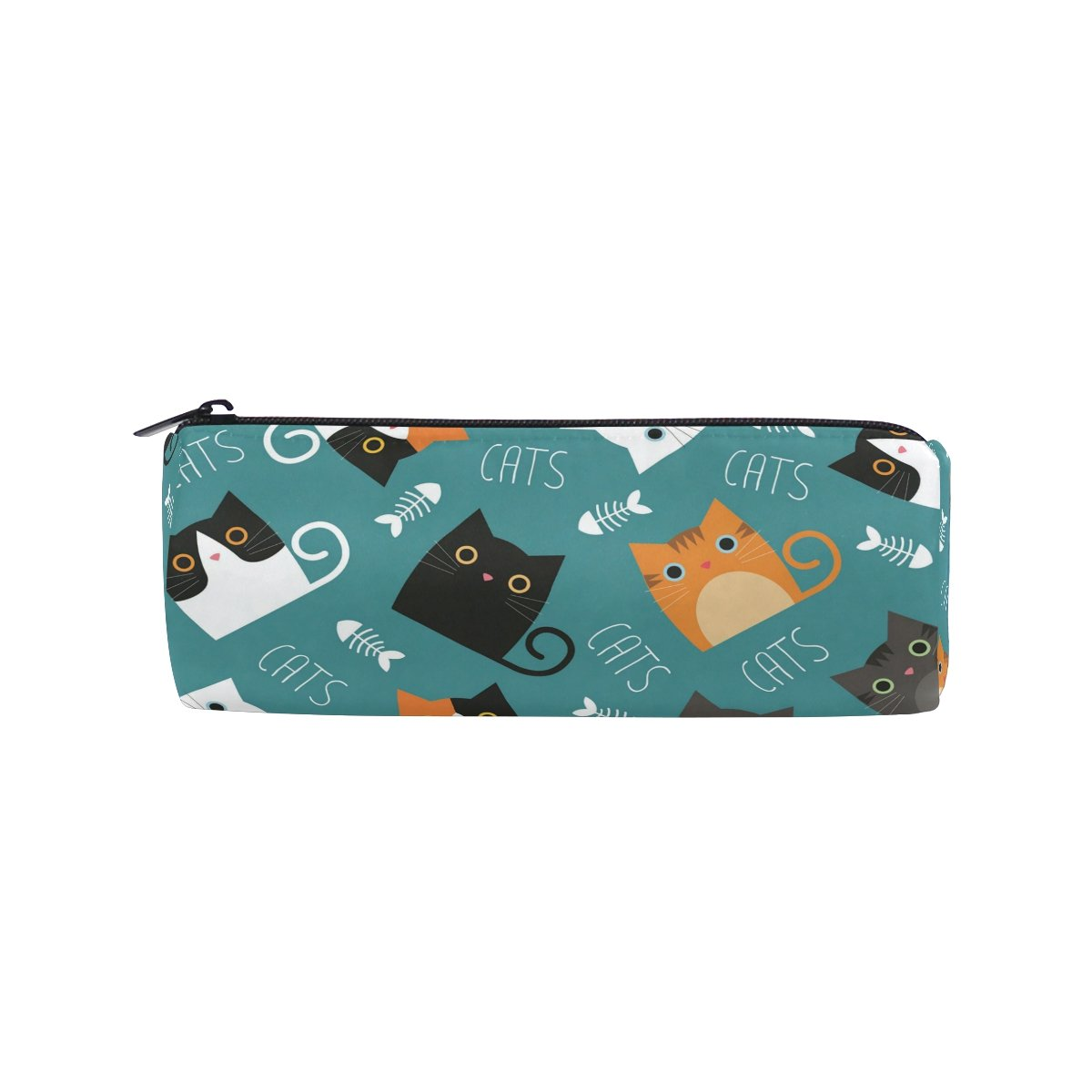 ALAZA Cats With Fish Bones Barrel Cotton Pencil Pen Bag Pouch Case Holder School Supplies for Student Teens