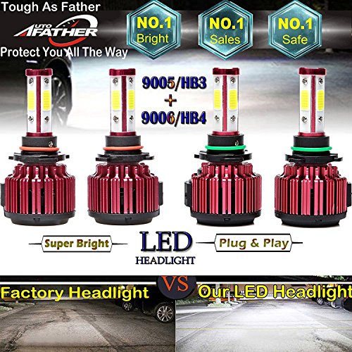 9005 and 9006 Car LED Headlight Bulbs For Chevy Silverado 1500 (1999-2006) High Beam Low Beam Combo Set - 4 Sides COB LED Chips With 12000LM/Bulb 48000LM/Kit Super Bright 6000K Cool White