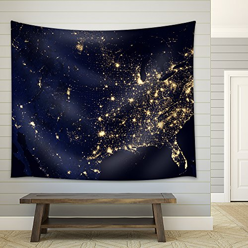 Usa Territory with Different Time Zones Fabric Wall