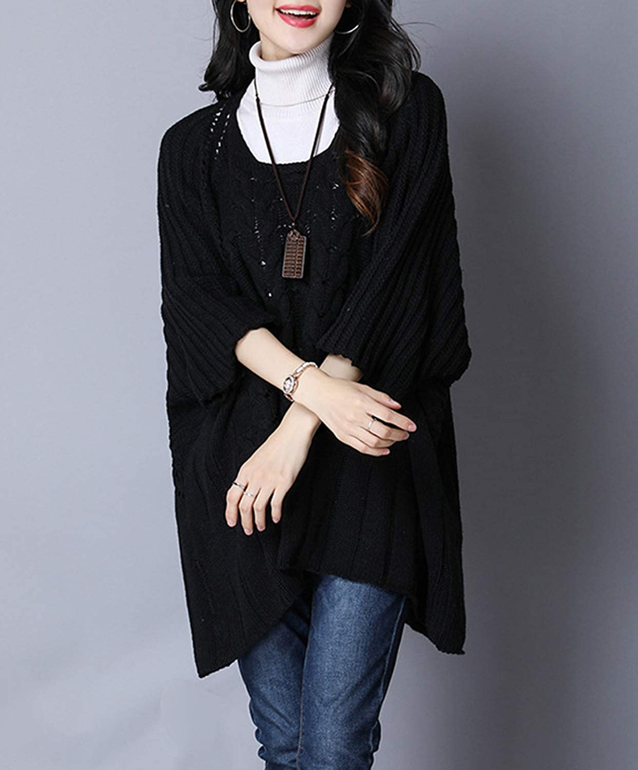 Gihuo Womens Oversized 3//4 Sleeve Cable Knit Pullover Sweater Cape