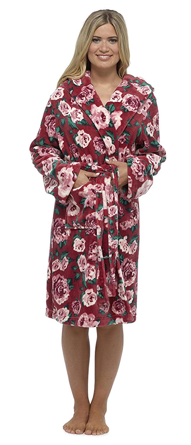 Wolf & Harte Ladies Floral Fleece Hooded Dressing Gown Robe