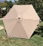 "BELLRINO DECOR Replacement MEDIUM COFFEE / TAUPE "" STRONG & THICK "" Umbrella Canopy for 9ft 6 Ribs MEDIUM COFFEE / TAUPE (Canopy Only) For Sale"