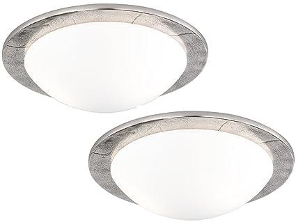 2er Set Deckenleuchten Shine Alu Im Antik Stil Nickel Glas