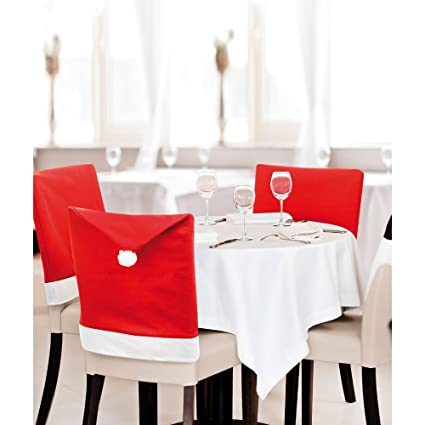 eBuyGB Pack of 6 Santa Hat Dining Chair Covers - Christmas Party Decoration (Santa Hat)