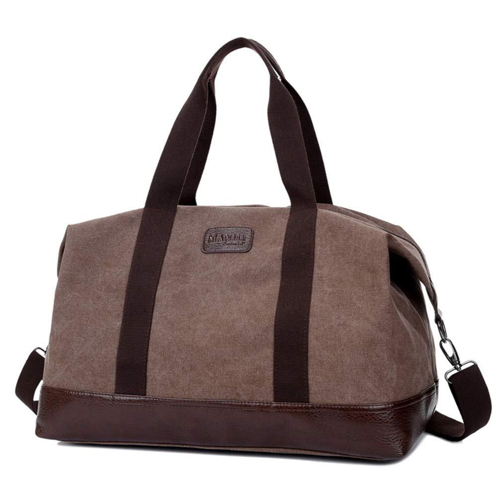 Casual Vintage Fashion Canvas Solid Unisex Large Capacity Travel Cross-Body Classic Handbag Brown